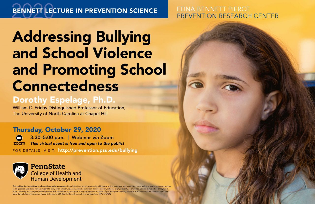 Poster featuring a sad young girl and reads Addressing Bullying and School Violence and Promoting School Connectedness