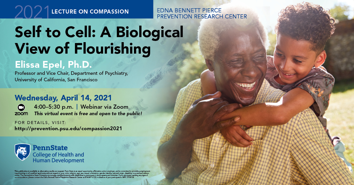 Promotional poster for the 2021 Compassion Lecture featuring Dr. Elissa Epel