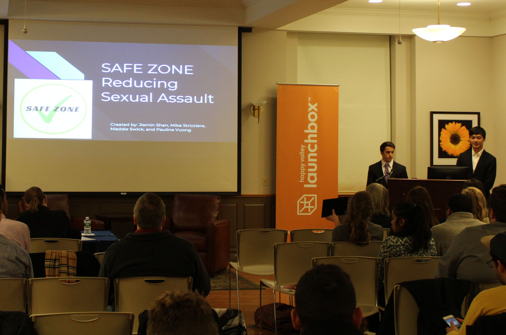 Members of the first-place team, Safe Zone, presenting their sexual assault prevention mobile application during the mHealth Challenge.