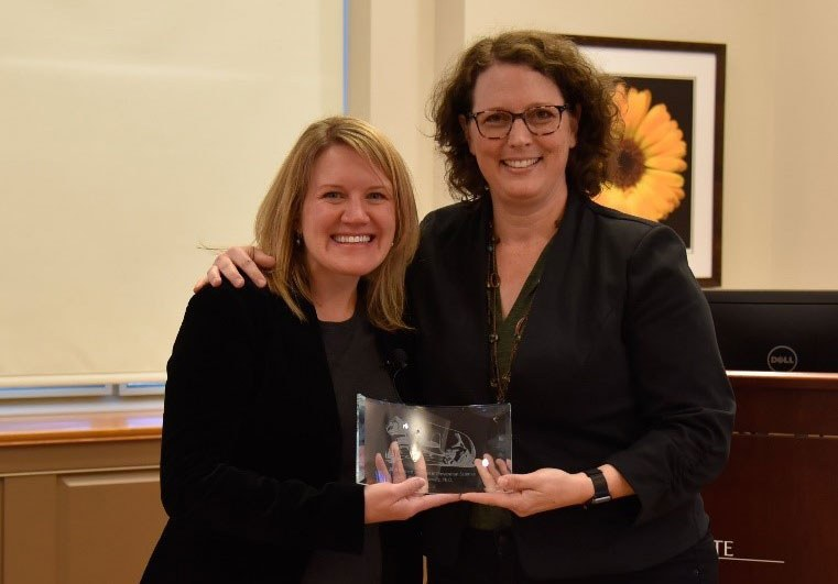 Stephanie Lanza, director of the Edna Bennett Prevention Research Center and interim director of the Consortium to Combat Substance Abuse, presented a plaque to Katie Witkiewitz, professor of psychology at the University of New Mexico, in appreciation of her presentation at the 2019 Bennett Lecture in Prevention Science, on Oct. 15