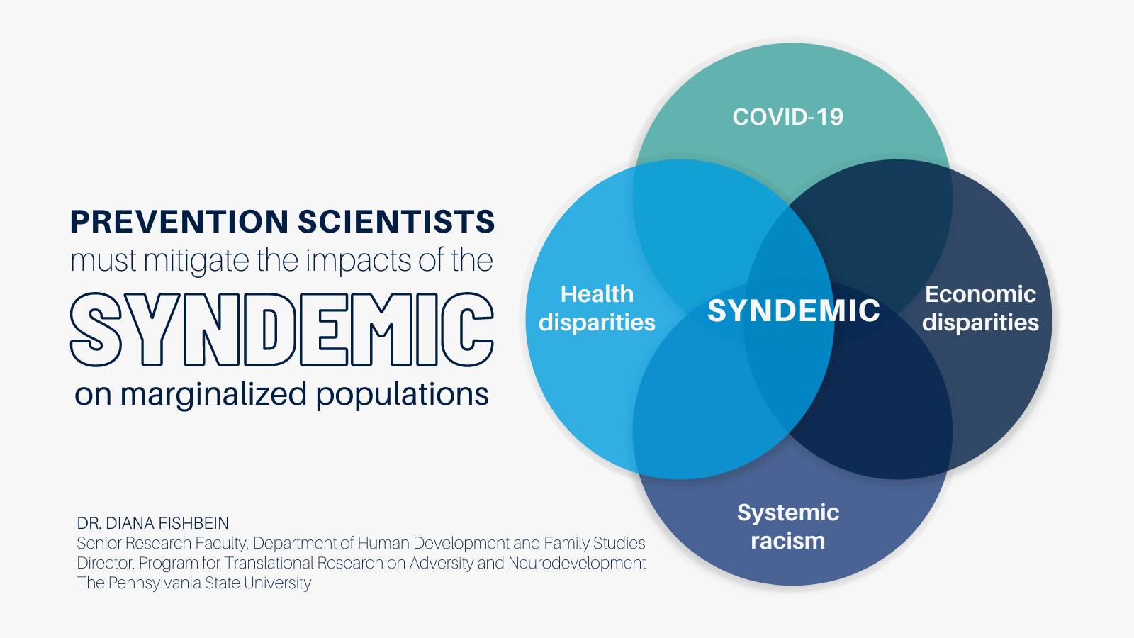 Prevention scientists must mitigate the impact of the syndemic on marginalized populations Health disparities COVID 19 Economic disparities Systemic racism