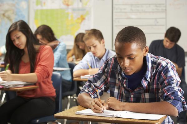 students at desk studying