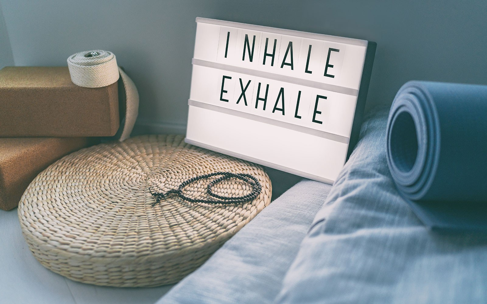 yoga equipment with a sign that says inhale exhale