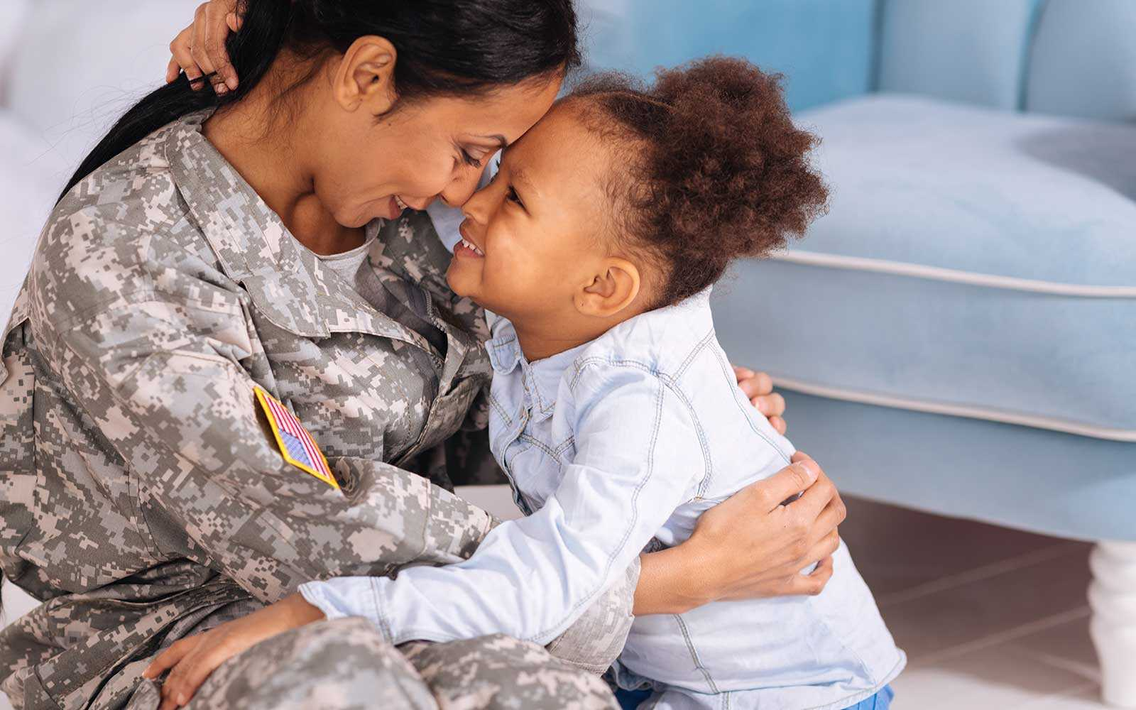 image of military mom and daughter
