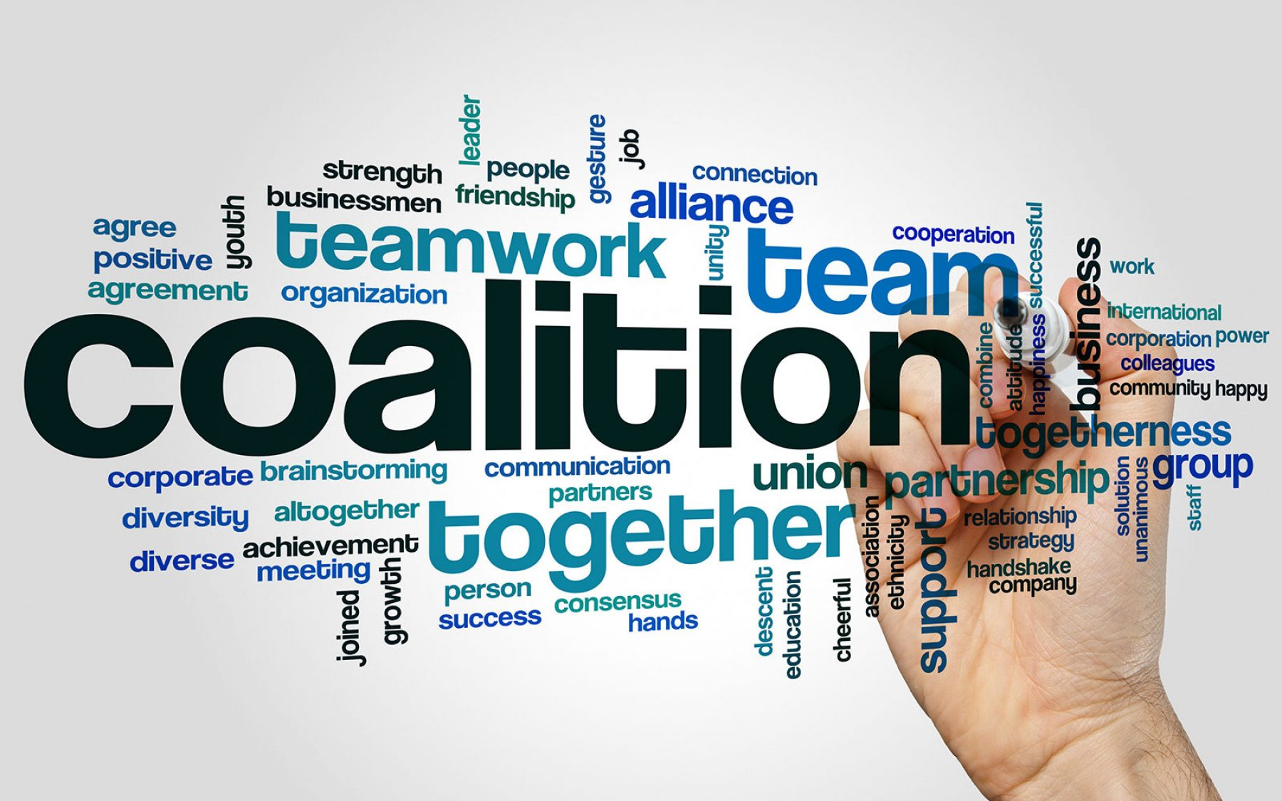 Word cloud featuring words related to a coalition. Largest words featured are coalition, team, teamwork, together, partnership, and alliance.