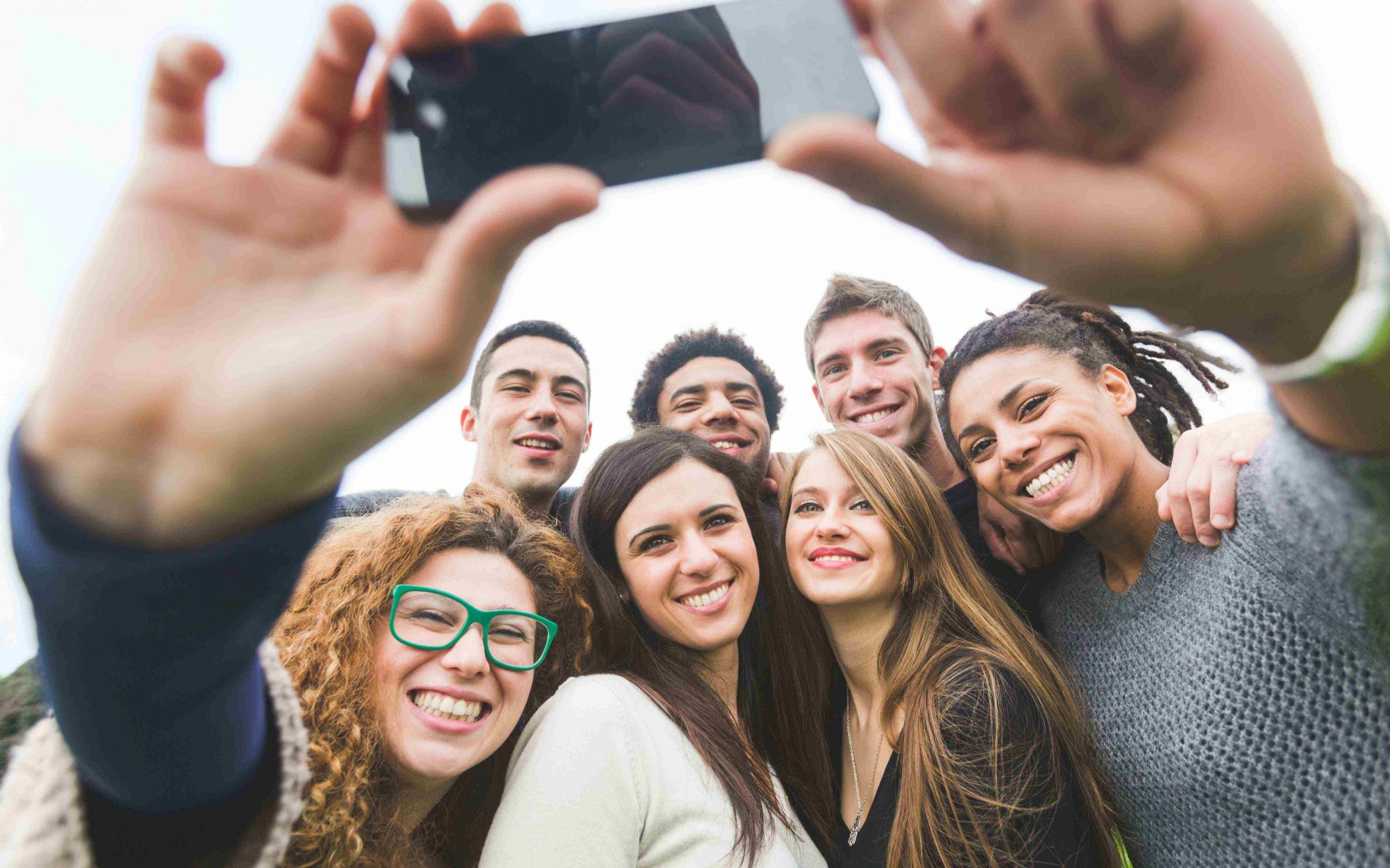 photo of college students taking a selfie