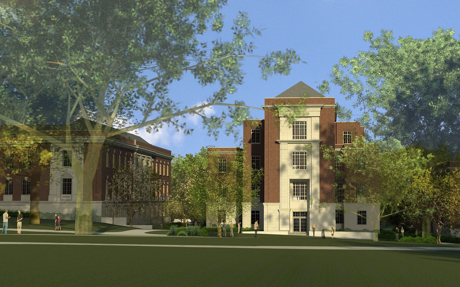 Rendering of the Biobehavioral Health Building as viewed from the Henderson mall and Old Main Lawn